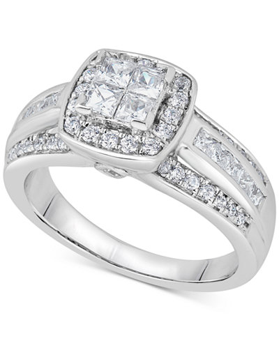 Diamond Quad Cluster Engagement Ring (1 ct. t.w.) in 14k White Gold