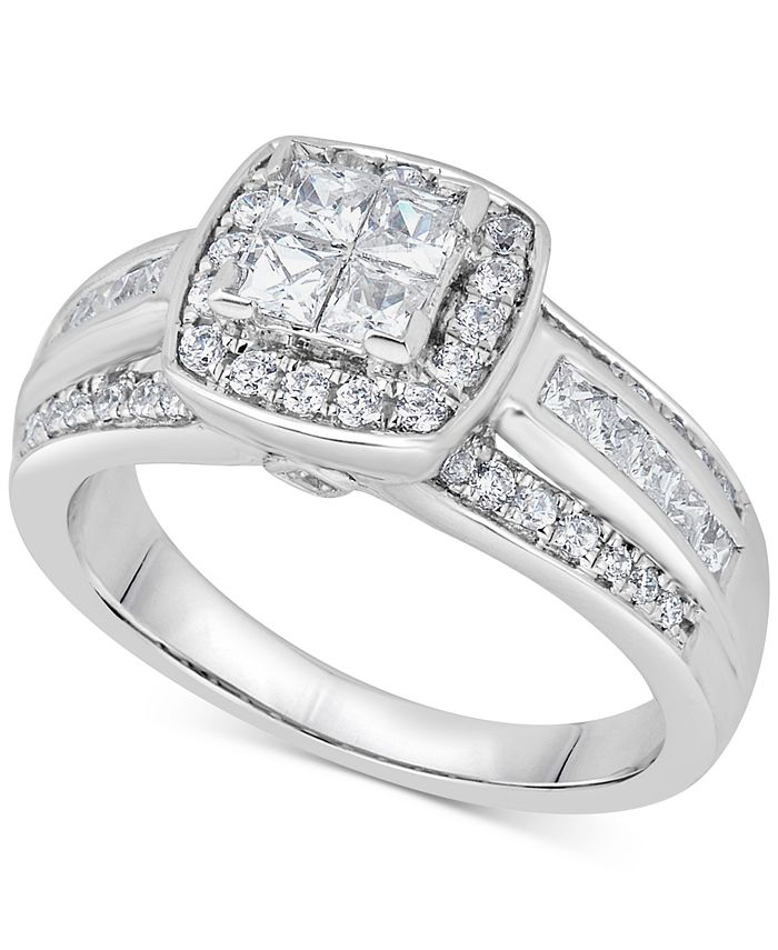 Macy's - Diamond Quad Cluster Engagement Ring (1 ct. t.w.) in 14k White Gold