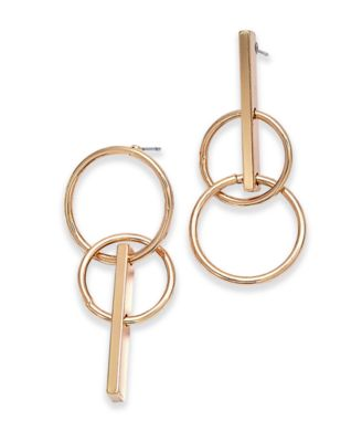 I.N.C. Gold-Tone Circle Drop Mismatch Earrings, Created for Macy's
