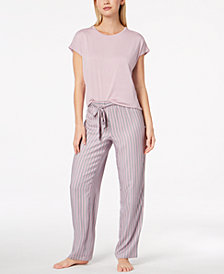 Alfani Solid Pajama Top & Printed Pants Sleep Separates, Created for Macy's