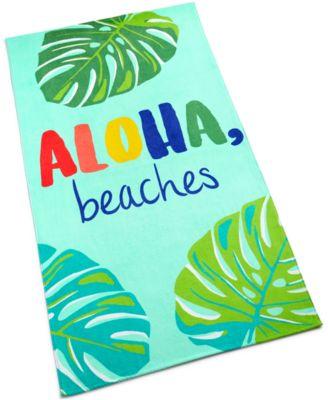 Aloha Beaches Cotton Graphic-Print Beach Towel, Created for Macy's