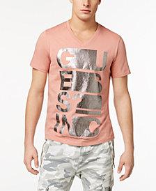 GUESS Men's Text Stretch Metallic Logo-Print V-Neck T-Shirt