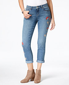 Style & Co Petite Embroidered Cuffed Jeans, Created for Macy's