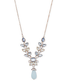 """Marchesa Gold-Tone Crystal, Blue Stone & Bead Y-Necklace, 16"""" + 3"""" extender"""