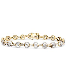 Diamond Halo Link Bracelet (2 ct. t.w.) in 14k Gold