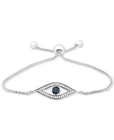 Wrapped™ Diamond Evil-Eye Bolo Bracelet (1/6 ct. t.w.) in Sterling Silver, Created for Macy's