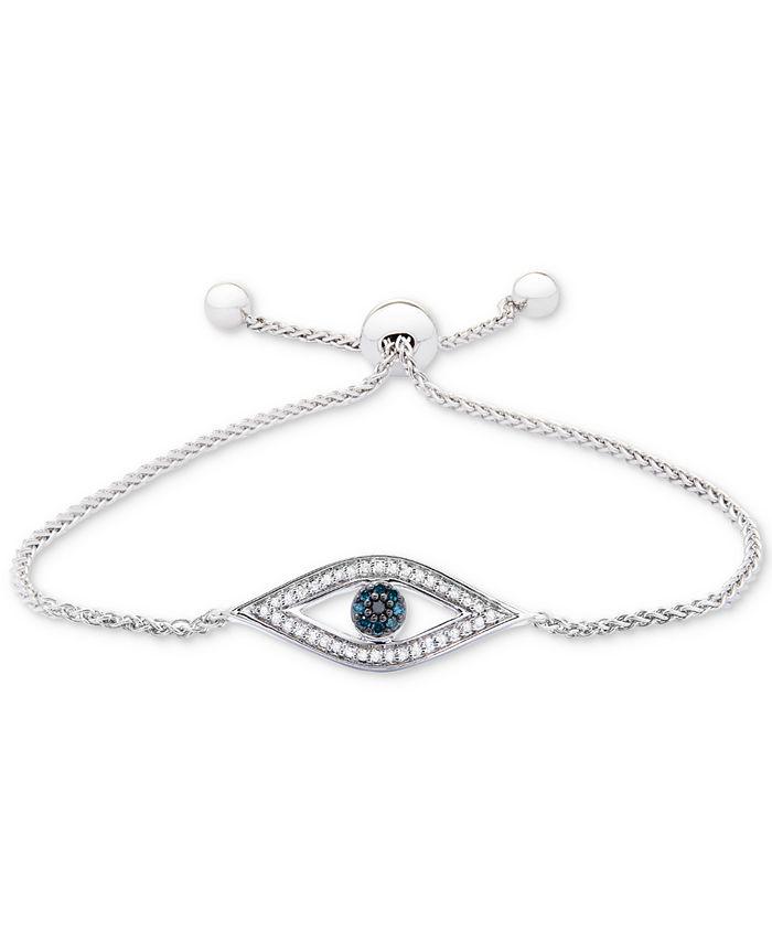 Wrapped - Diamond Evil-Eye Slider Bracelet (1/6 ct. t.w.) in Sterling Silver