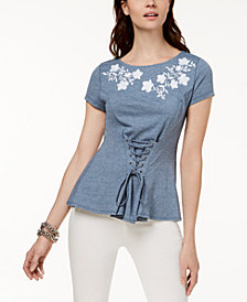 I.N.C. Embroidered Corset T-Shirt, Created for Macy's