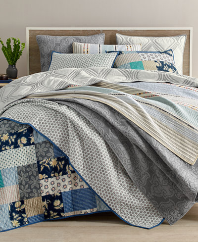 Martha Stewart Collection Globe Trotter Cotton Quilt and Sham ... : quilts at macys - Adamdwight.com