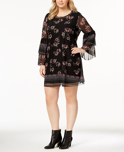 Style & Co Plus Size Printed-Mesh Dress, Created for Macy\'s ...