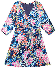 Monteau Floral-Print Wrap Dress, Big Girls