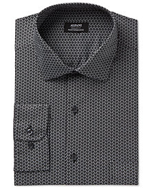 Alfani Men's Classic/Regular Fit Performance Geometric Print Dress Shirt, Created for Macy's