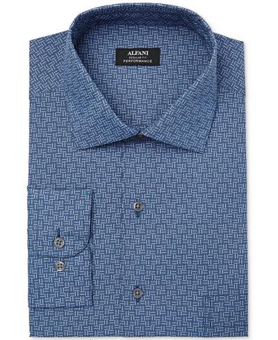 Alfani Men's Classic/Regular Fit Performance Print Dress Shirt, Created for Macy's
