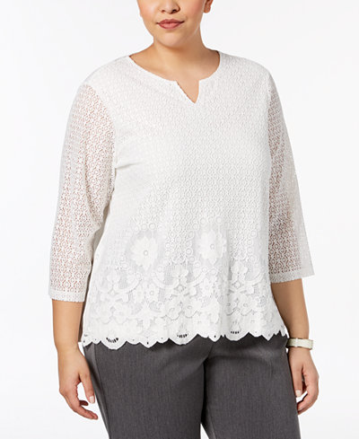 Alfred Dunner Plus Size Lakeshore Drive Lace Sequined Top