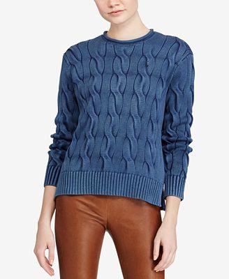 Polo Ralph Lauren Cable Knit Cotton Sweater Sweaters Women Macys
