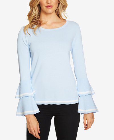 CeCe Cotton Contrast-Trim Bell-Sleeve Sweater