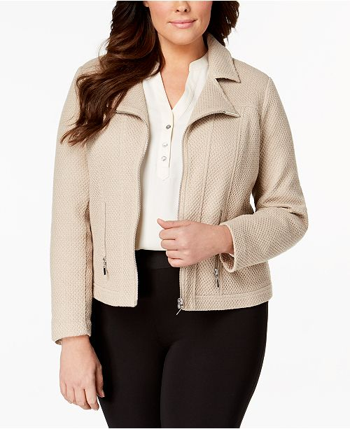 Plus Size Textured Moto Jacket, Created for Macy's