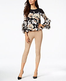 Alfani Ruffled-Sleeve Top & Capri Pants, Created for Macy's