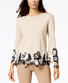 Alfani Lace-Trimmed Sweater, Created for Macy's
