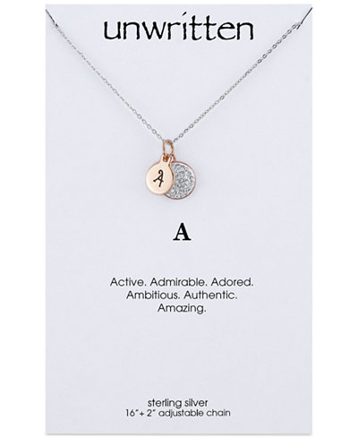 Unwritten Initial & Crystal Disc Pendant Necklace in Rose Gold-Tone Sterling Silver, 16