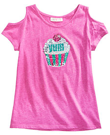 Kandy Kiss Reversible-Sequin Cupcake Cold Shoulder Top, Big Girls