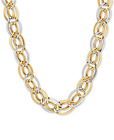 Two-Tone Interlocked Link Collar Necklace in 10k Gold & White Gold