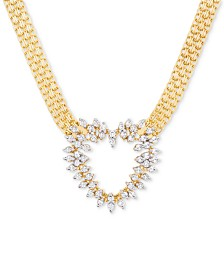 Diamond Heart Bismark Link Pendant Necklace (1/2 ct. t.w.) in 14k Gold-Plated Sterling Silver