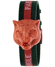 Gucci Women's Swiss Le Marché Des Merveilles Green & Red Nylon Strap Watch 32mm