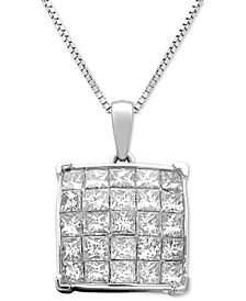 "Diamond Square Cluster 18"" Pendant Necklace (1 ct. t.w.) in 14k White Gold"