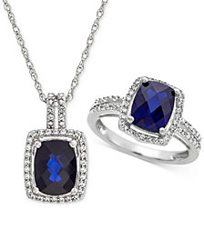 Lab Created Sapphire (4 ct. t.w.) & White Sapphire (1 ct. t.w.) Pendant Necklace & Ring in Sterling Silver