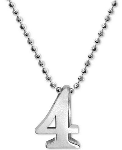 Alex Woo Number 4 Pendant Necklace in Sterling Silver