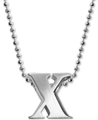 Alex Woo X Initial Pendant Necklace In Sterling Silver