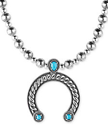 American West Turquoise Horseshoe Pendant Necklace (1-1/8 ct. t.w.) in Sterling Silver