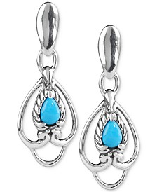Carolyn Pollack Turquoise Drop Earrings (5/8 ct. t.w.) in Sterling Silver