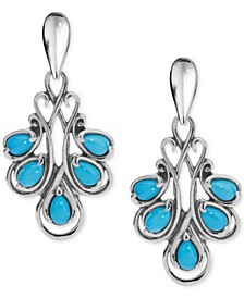 Turquoise Fan Drop Earrings (2 ct. t.w.) in Sterling Silver