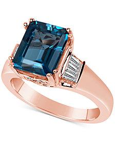 London Blue Topaz (5 ct. t.w.) & Diamond (3/8 ct. t.w.) in 14k Rose Gold