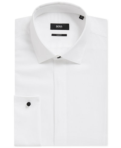 BOSS Men's Slim-Fit Cotton Tuxedo Shirt
