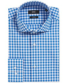 BOSS Men's Slim-Fit Gingham Cotton Dress Shirt