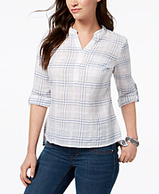 Style & Co Petite Cotton Textured Roll-Tab Top, Created for Macy's