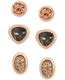 Kenneth Cole New York Rose Gold-Tone 3-Pc. Set Multi-Stone Stud Earrings