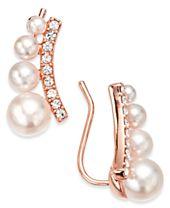 I.N.C. Rose Gold-Tone Crystal & Imitation Pearl Ear Climber Earrings, Created for Macy's