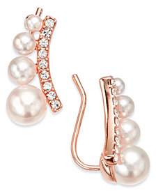 I.N.C. Rose Gold-Tone Crystal & Imitation Pearl Ear Climber Earrings, Created for Macy's