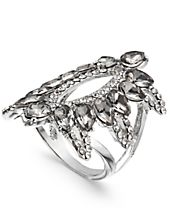 I.N.C. Silver-Tone Pavé & Black Stone Ring, Created for Macy's