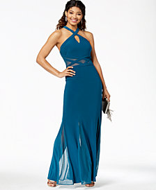Morgan & Company Juniors' Illusion-Waist Halter Gown