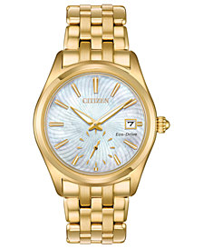 Citizen Women's Eco-Drive Corso Gold-Tone Stainless Steel Bracelet Watch 36.2mm, Created for Macy's