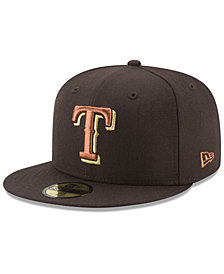 New Era Texas Rangers Brown on Metallic 59FIFTY Fitted Cap