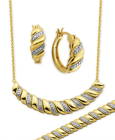 Diamond Accent Twist Hoop Earrings, Collar Necklace and Link Bracelet Set in 18k Gold over Silver-Plate
