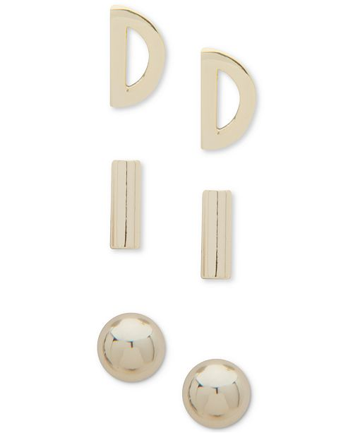 DKNY Gold-Tone 3-Pc. Set Stud Earrings, Created for Macy's