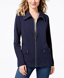 Karen Scott Petite Wing Collar Zip Jacket, Created for Macy's