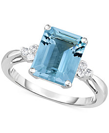 Aquamarine (2-3/4 ct. t.w.) & Diamond Accent Ring in 14k White Gold